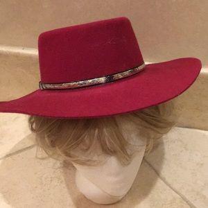 Crimson color 100% wool ladies western hat